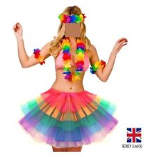 HAWAIIAN FANCY DRESS COSTUME Girls Hula Lei Garland Luau Tutu Hen Party Lot UK