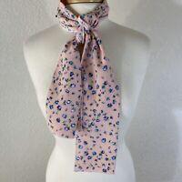 "VTG 100% Silk Scarf Tie Calico Flowers Pink Blue Purple Print Rectangle 52""x8"