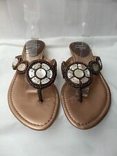 "CLARKS cushion soft UK 5 / 38 Bronze Brown leather toe post sandals 1"" heel VGC"
