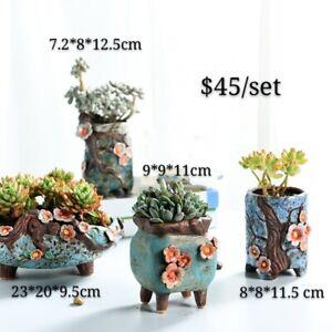 4pcs 3D Cactus Succulent Pots Ceramic Flower Plant Garden Pots Hand made painted