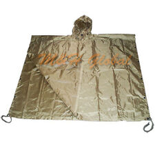 Military Style Nylon Poncho All Weather Rain Coat - Coyote TAN