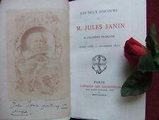 JANIN JULES : LES DEUX DISCOURS DE J. JANIN 1872