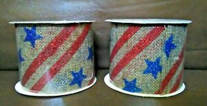 Burlap  Stars and Stripes 2.5 in  Ribbon 3 Yards Long Set of 2