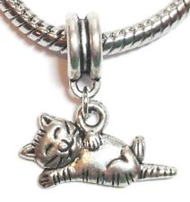 CAT_Bead for Silver European Chain Charm Bracelet_Kitty Kitten Pet Animal Black