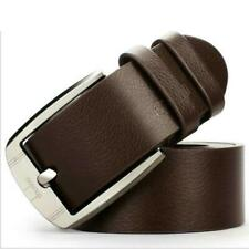 Men Belts Business Leisure Wide Faux PU Leather Elegant Shining Metal Buckle