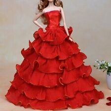 Wedding Party Clothes For Barbie Doll Handmade Bridal Gown Princess Dress Red