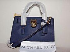 NWT Michael Kors Hamilton Saffiano Leather Medium Satchel. Navy / Black