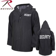 Black Security Guard Security Officer Rain Coat Jacket & Removable Hood 36651