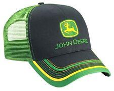 NEW John Deere Black Twill Green Mesh Cap Embroidered Visor Design Hat LP52392