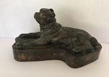 "VINTAGE BRONZE DOG STATUE BULL DOG 9""x4""x 5"" ""RARE""MADE IN THE PHILIPPINES"