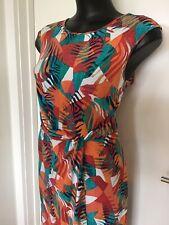 SIZE 14 FLATTERING Colourful GORGEOUS DRESS - LEONA EDMISTON