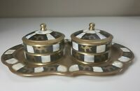 Mother Of Pearl Inlay Brass Camel Trinket Box And Tray Vanity Set Jewelry Box