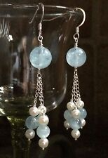 Natural BLUE AQUAMARINE Gemstone Sterling Silver Pearl Dangle Tassel Earrings