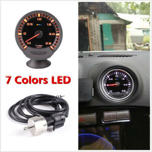7 Colors LED Digital Display 74mm Car Turbo Boost Gauge 1-2.5 Bar With Sensor