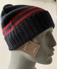 AUTH NWT GUCCI NAVY BLUE SIGNATURE STRIPE SOFT LANA WOOL BEANIE HAT 59/LARGE