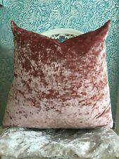 "21""Pink Crush Velvet Cushion Cover Feather Inner Teenage Girl Present Gift"