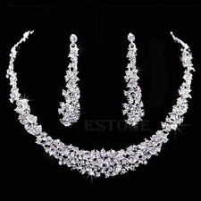 Bridal Wedding Prom Jewelry Crystal Rhinestone Diamante Necklace & Earrings Set