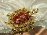 Vintage 1950's Rhinestone Thermoset Gold Tone Turtle Brooch  136a9