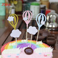 20pcs White Cloud Hot Air Balloon Cake Cupcake Toppers Party Food Fruit PickFAAV