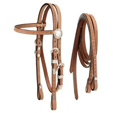 Tough-1 Roughout Headstall with Reins and Silver Concho Accents - Mini