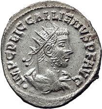 GALLIENUS 255AD Samosata Authentic Ancient Silver Roman Coin JUPITER i65356