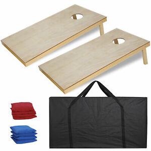 4x2' Foldable DIY Wooden Bean Bag Toss Cornhole Game Set of 2Boards & 8 Beanbags