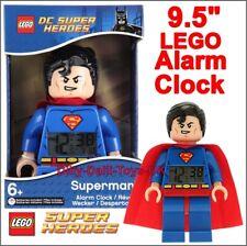 "Lego SUPERMAN Alarm Clock DC Super Heroes Minifigure 9.5"" Digital Novelty NEW"