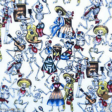 Per half metre CREAM  day of the dead musical skeletons fabric 100% cotton 54""