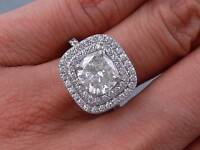 2.82 CARATS CT TW CUSHION CUT DIAMOND ENGAGEMENT RING G SI2