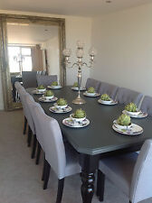 8-10 seater Large Dining table +10chairs, gloss black&grey top, up to 24 places