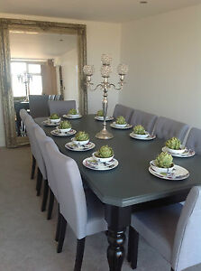 8-10 seater Large Dining table, gloss black & grey top, any colour combination