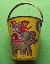 c1950  Tinplate Seaside Sand Pail Bucket with Circus Elephant and Hedgehog