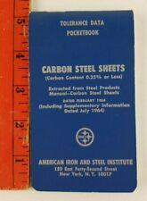 Vintage 1964 Carbon Steel Sheets Tolerance Data Pocketbook New York Institute