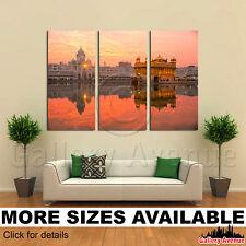 3 Panel Canvas Picture Print - Golden Temple Amritsar Punjab India Sunset 3.2