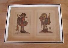 Vintage Framed Matted Double Girl Boy Original Hummel Print Made Western Germany