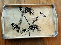 Vintage Japanese Handpainted Wood Serving Tray Metal Corners Birds NICE 17 x 11""