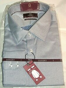 """M&S Luxury Tailored Long Sleeved Shirt in Navy Mix Weave Size 18.1/2"""""""