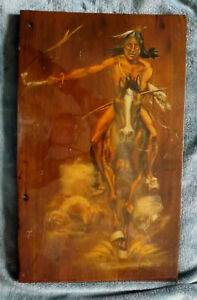 vtg Carol Patrick Native American Indian riding a horse painting on wood