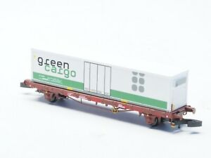 FR TÅGAB Flat Car in METAL with GREEN CARGO container class Lgs  Z-scale