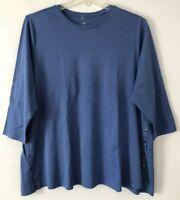 NEW J. JILL 1X 3X Side-Button Tee Shirt Top Perfect Pima Cotton Blue