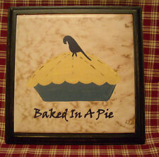 Primitive Crow BAKED in a PIE TRIVET Prim Folk Art