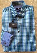 Hugo Boss Ronny Button Down Shirt Mens XL Slim Blue & Green Multi Plaid NWT $165