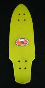 "Vintage 1970s Makaha Wedge 22-8 Yellow Skateboard 21"" w/ Label"