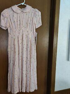 Vtg Rare Size 12 Floral Daisies? Dress Gorgeous  Short Sleeve Spring NWT Vintage