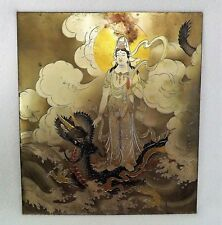 Antique Japanese Metal Plaque  KANNON  Goddess of Mercy Three Toed Dragon SIGNED