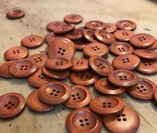 10 X 30mm Coffee Brown Wooden Buttons- Australian Supplier