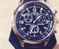 Luxury Fashion Mens Leather Blue Ray Glass Watch Quartz Analog Watches & Band