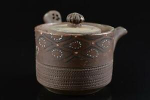 L5323: Japanese Old Banko-ware Brown pottery Flower TEAPOT Kyusu Sencha, auto