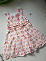 EUC size 4 girls dress. ORIGAMI white peach spots with waist band bow