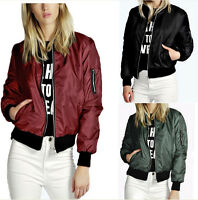 Women Winter Casual Military Bomber Jacket Short Coat Clothes Outwear Green Red
